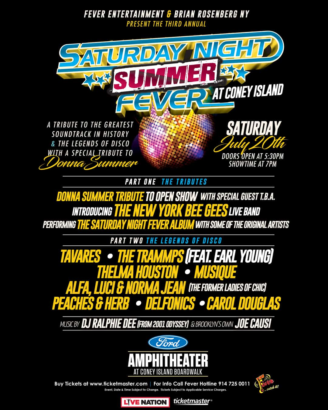 Saturday Night Summer fever artist lineup