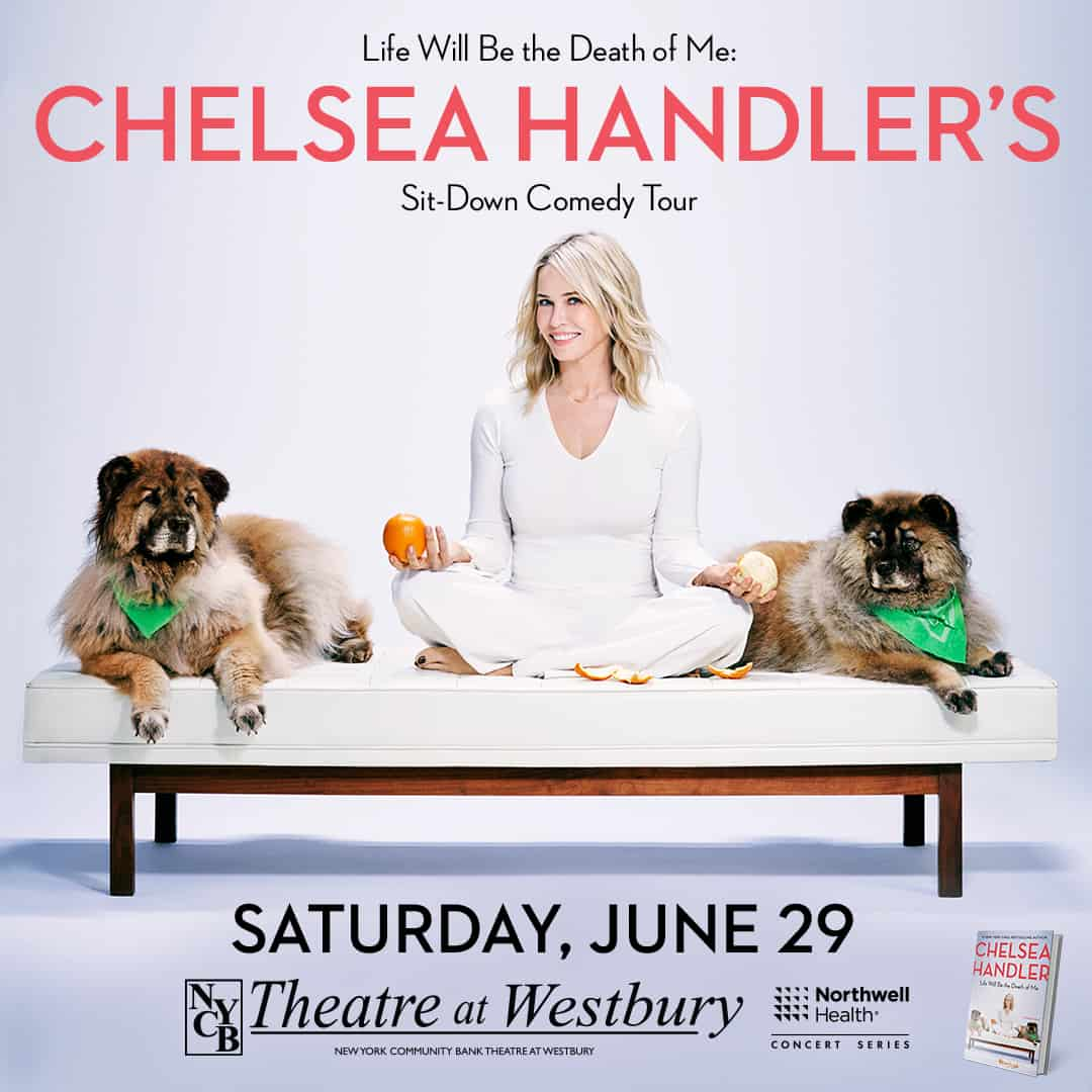 Chelsea Handler sitting on a couch with dogs